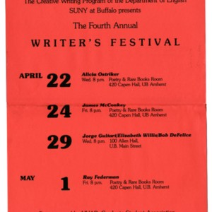 """The 4th Annual Writer's Festival"" sponsored by SUNY at Buffalo"