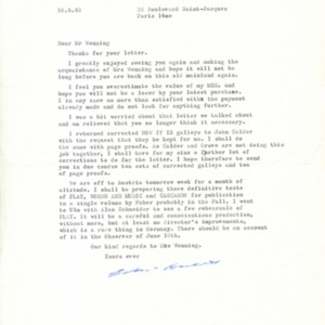 Typed letter, signed from Samuel Beckett to Henry Wenning, June 10, 1963