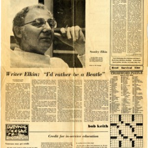 """Writer Elkin: 'I'd rather be a Beatle'"" by Dave Helland from <em>The Daily Iowan</em>, April 3, 1974"
