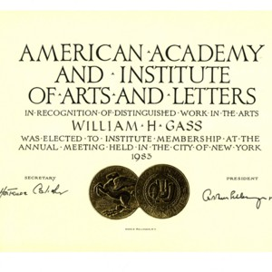American Academy and Institute of Arts and Letters induction certificate, May 18, 1983