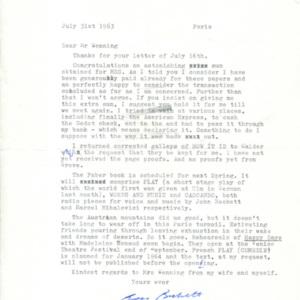 Samuel Beckett letter to Henry Wenning, 1963: July 31