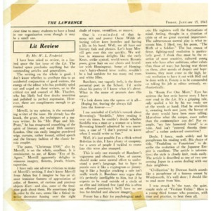 """""""Lit Review"""" by Mr. W. L. Frederici concerning Merrill from <em>The Lawrence</em>, January 15, 1943"""