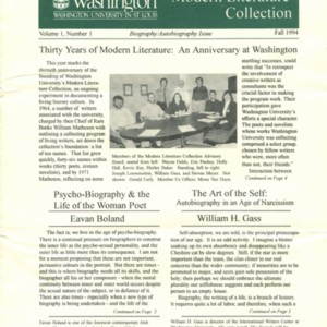 <em>Modern Literature Collection, </em>Special Collections, Washington University Libraries, Volume 1, Number 1 (Fall 1994)