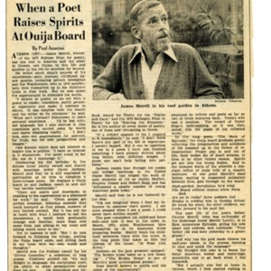 """""""When a Poet Raises Spirits at Ouija Board"""" by Paul Anastasi from the<em> International Herald Tribune</em>, March 8, 1978"""