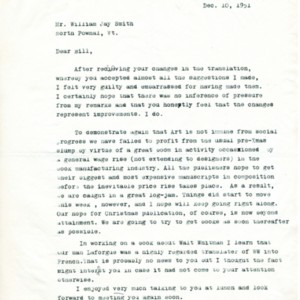 Typed letter, signed from Marshall Lee to William Jay Smith, December 10, 1951