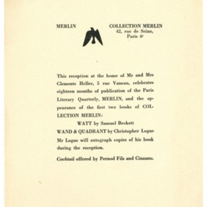 Invitation for a reception to celebrate eighteen month of publication of Merlin and the appearance of the first two books of Collection Merlin, <em>Watt</em> by Samuel Beckett and <em>Wand & Quadrant</em> by Christopher Logue
