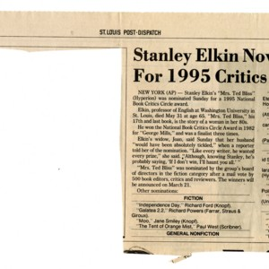 """Stanley Elkin Novel Nominated For 1995 Critics Circle Award"" from the <em>St. Louis Post-Dispatch</em>, January 22, 1996"