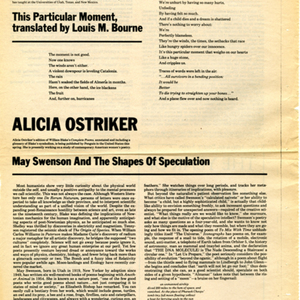 """May Swenson and the Shapes of Speculation"" by Alicia Ostriker from <em>The American Poetry Review</em>, March/April 1978"