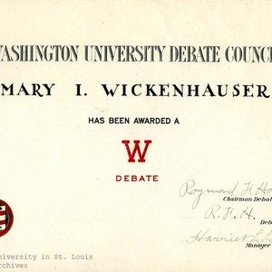Washington University Debate Council Certificate.