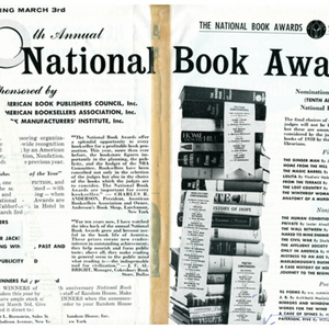 Clipping featuring the 1959 National Book Award nominations including May Swenson for <em>A Cage of Spines</em>.