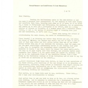 Typed letter, signed from Howard Nemerov to Stanley Elkin, November 3, 1978