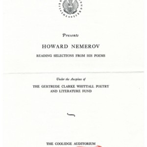 "Program for ""Howard Nemerov Reading Selections From His Poem"" at the Library of Congress, April 16, 1962"