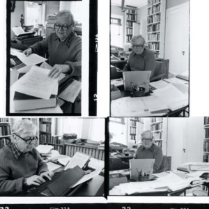 William H. Gass working at home
