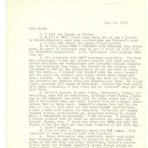 Typed letter, signed from Austryn Wainhouse to Alexander Trocchi, July 22, 1953