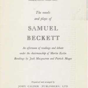 """<span>Theater Program for """"The Novels and Plays of Samuel Beckett""""</span>"""
