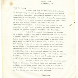 Typed letter [carbon] from Alexander Trocchi to Timothy Leary, November 3, 1964