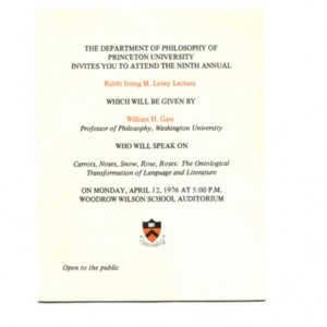 """Carrots, Noses, Snow, Rose, Roses..."" - Princeton University Lecture Invitation"