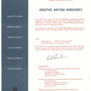 The University of British Columbia Summer Session and Summer School of the Arts Creative Writing Workshops