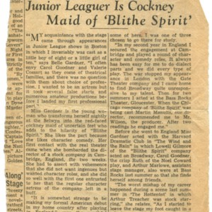 """Junior Leaguer Is Cockney Maid of 'Blithe Spirit'"""