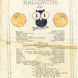 Advertisement for a Halloween play featuring a tap dance by Mona Van Duyn