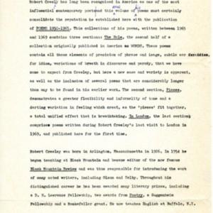 Prospectus for <em>The Finger: Poems 1965-1969</em> by Robert Creeley