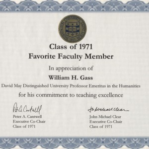 Washington University Class of 1971 Favorite Faculty Member award