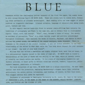 News from Godine: <em>On Being Blue</em> Press Release
