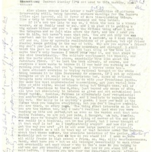 Typed letter, signed from Helen Vendler to Stanley Elkin, October 23, 1967