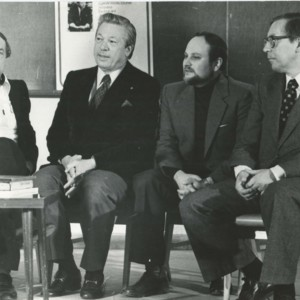 Andrei Voznesensky and William Jay Smith at the School of Journalism at Moscow State University