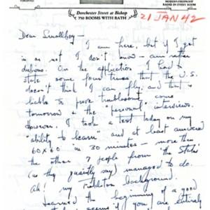 Autograph letter, signed from Howard Nemerov to John Pauker, January 21, 1942