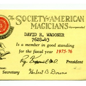 David Wagoner's Society of American Magicians identification card