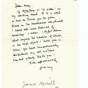 Autograph letter, signed from James Merrill to May Swenson, January 8, 1973