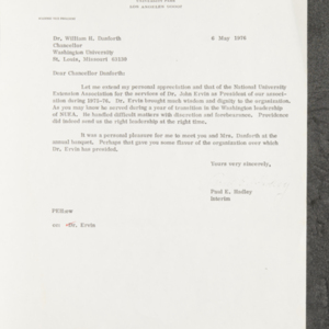 Letter from Paul E. Hadley to Dr. William H. Danforth