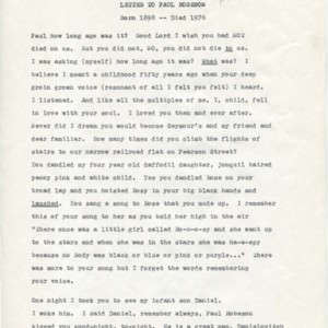 """Letter to Paul Robeson"" by Isabella Gardner"