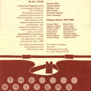 The Writers' Program brochure, Washington University, 1980