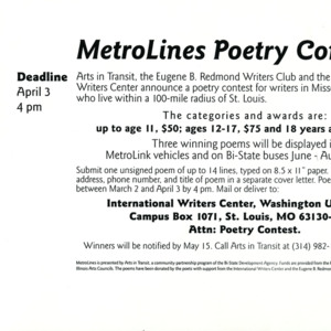 MetroLines Poetry Contest poster