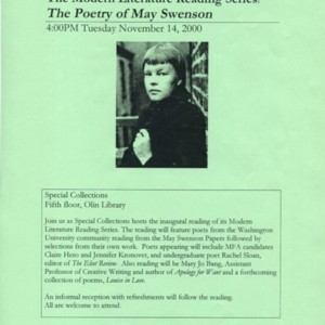"""The Modern Literature Reading Series: The Poetry of May Swenson"""