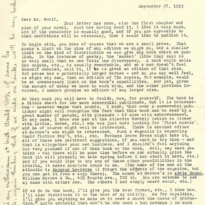 Typed letter from Robert Creeley to Douglas Woolfe, September 27, 1953