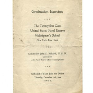 Graduation Exercises, The Twenty-first Class United States Naval Reserve Midshipmen's School