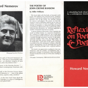 Prospectus for <em>Reflexions on Poetry and Poetics</em> by Howard Nemerov