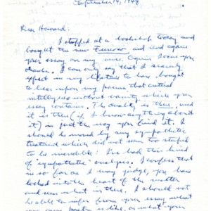 Autograph letter, signed from Allen Tate to Howard Nemerov, September 14, 1948