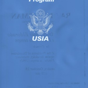 Programs, correspondence, and various other material related to Raymond Federman's participation in the United States Information Agency  reading and workshop tour of Africa