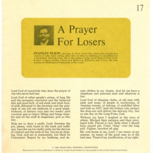 """A Prayer for Losers"" by Stanley Elkin"