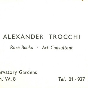 Alexander Trocchi's business card