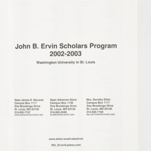 John B. Ervin Scholars Program 2002-2003