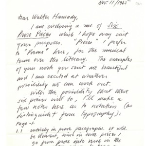 Autograph letter, signed from Robert Duncan to Walter Hamady, November 11, 1965