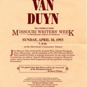 """U.S. Poet Laureate Mona Van Duyn Will Formally Open Missouri Writers' Week in the Historic Hamlet of Hermann, Missouri on April 18, 1993"""