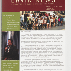 <em>Ervin News</em> A Newsletter of the John B. Ervin Scholars Program Special Edition Issue 6