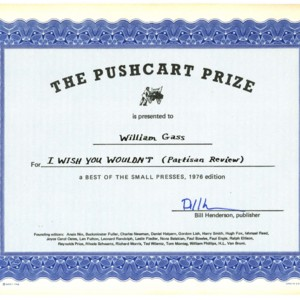 "The Pushcart Prize - ""I Wish You Wouldn't"""