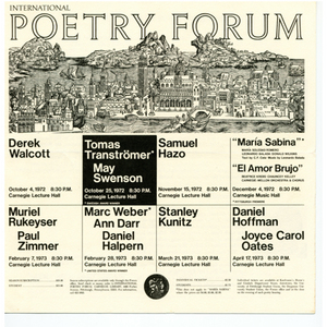 """International Poetry Forum"" featuring a reading by May Swenson and Tomas Transtromer"